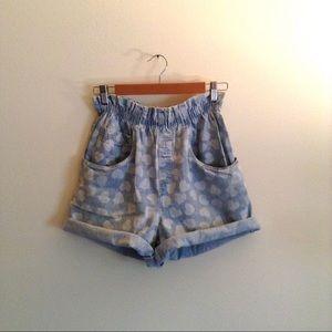 🇺🇸 Vintage Light Wash Heart Denim Shorts